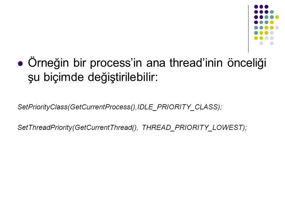  Örneğin bir process'in ana thread'inin önceliği şu biçimde değiştirilebilir: SetPriorityClass(GetCurrentProcess(),IDLE_PRIORITY_CLASS); SetThreadPri