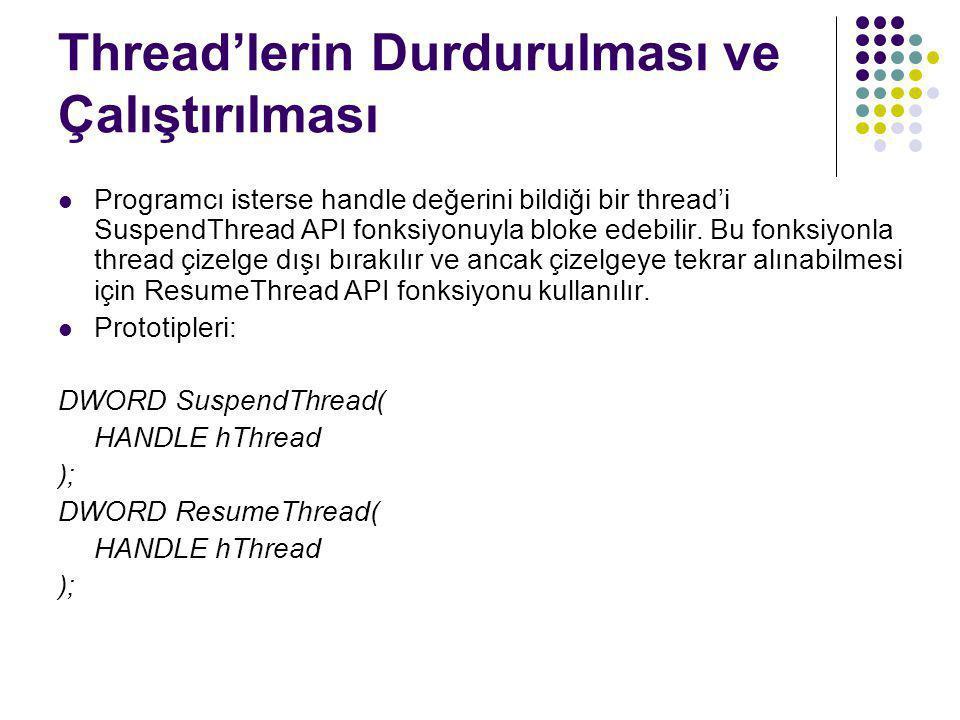 Thread'lerin Durdurulması ve Çalıştırılması  Programcı isterse handle değerini bildiği bir thread'i SuspendThread API fonksiyonuyla bloke edebilir. B