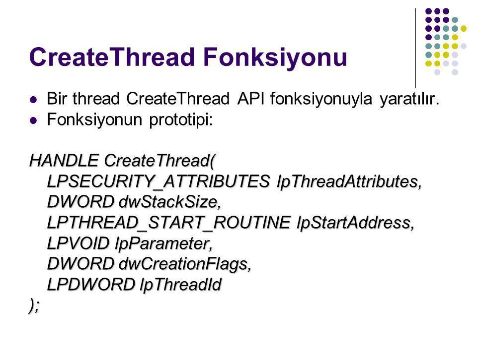 CreateThread Fonksiyonu  Bir thread CreateThread API fonksiyonuyla yaratılır.  Fonksiyonun prototipi: HANDLE CreateThread( LPSECURITY_ATTRIBUTES lpT