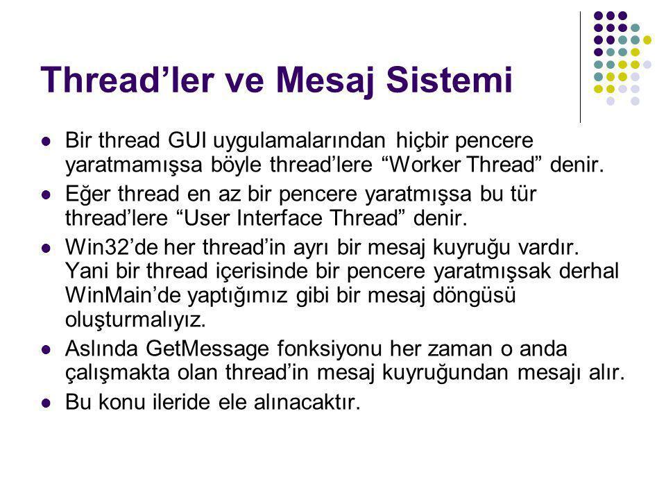"""Thread'ler ve Mesaj Sistemi  Bir thread GUI uygulamalarından hiçbir pencere yaratmamışsa böyle thread'lere """"Worker Thread"""" denir.  Eğer thread en az"""