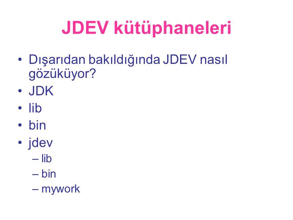 JDEV kütüphaneleri •Dışarıdan bakıldığında JDEV nasıl gözüküyor.