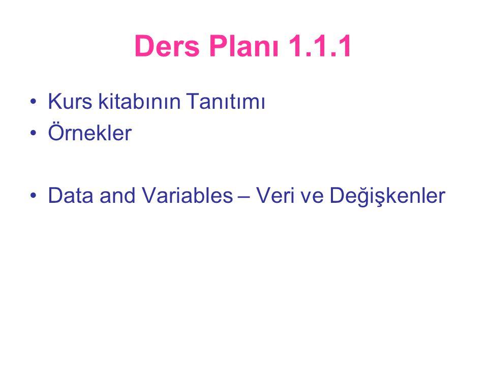 Ders Planı 1.1.1 •Kurs kitabının Tanıtımı •Örnekler •Data and Variables – Veri ve Değişkenler