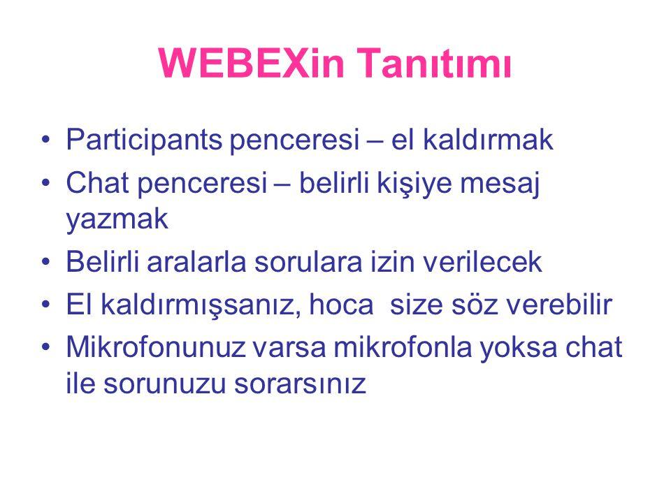 WEBEXin Tanıtımı •Participants penceresi – el kaldırmak •Chat penceresi – belirli kişiye mesaj yazmak •Belirli aralarla sorulara izin verilecek •El kaldırmışsanız, hoca size söz verebilir •Mikrofonunuz varsa mikrofonla yoksa chat ile sorunuzu sorarsınız