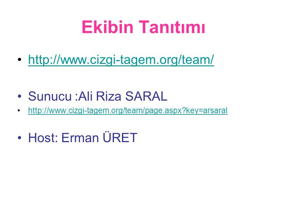 Ekibin Tanıtımı •http://www.cizgi-tagem.org/team/http://www.cizgi-tagem.org/team/ •Sunucu :Ali Riza SARAL •http://www.cizgi-tagem.org/team/page.aspx?key=arsaralhttp://www.cizgi-tagem.org/team/page.aspx?key=arsaral •Host: Erman ÜRET