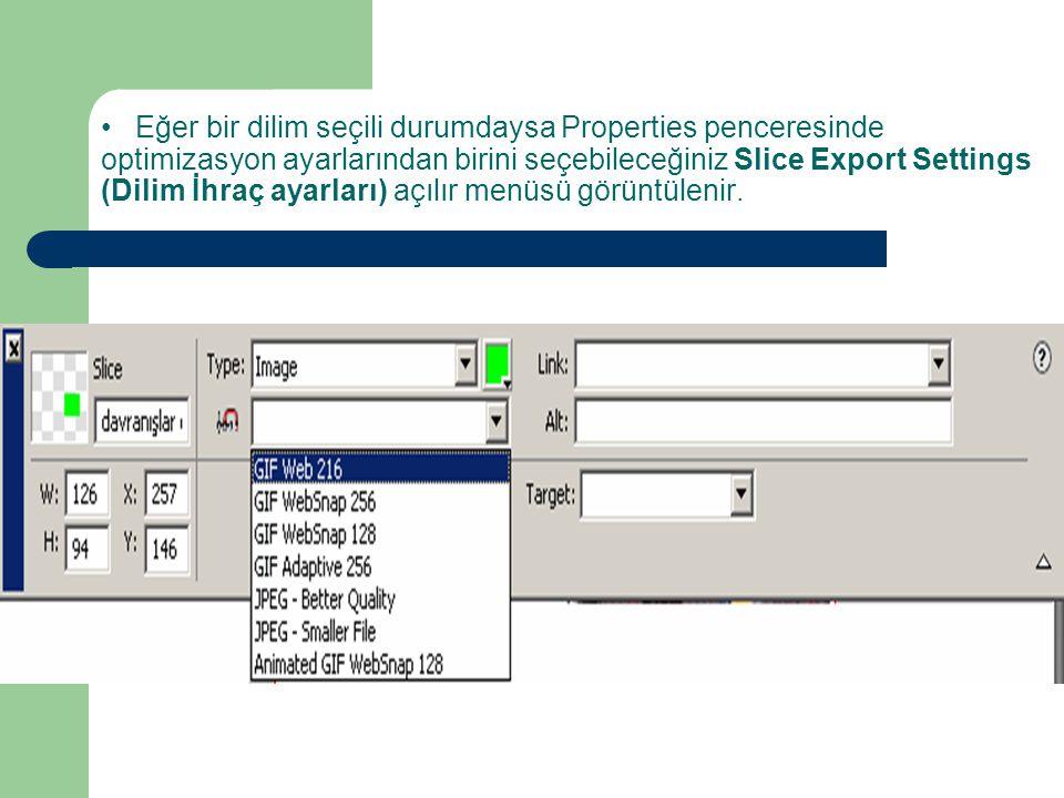 • Eğer bir dilim seçili durumdaysa Properties penceresinde optimizasyon ayarlarından birini seçebileceğiniz Slice Export Settings (Dilim İhraç ayarları) açılır menüsü görüntülenir.