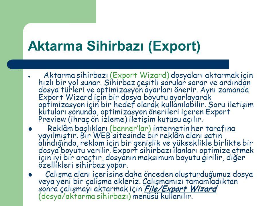 HTML Olarak Aktarma  Çalışma tamamlandıktan sonra sayfayı HTML olarak aktarmak için File/Export (Ctrl+ Shift + R) menüsü kullanılır.