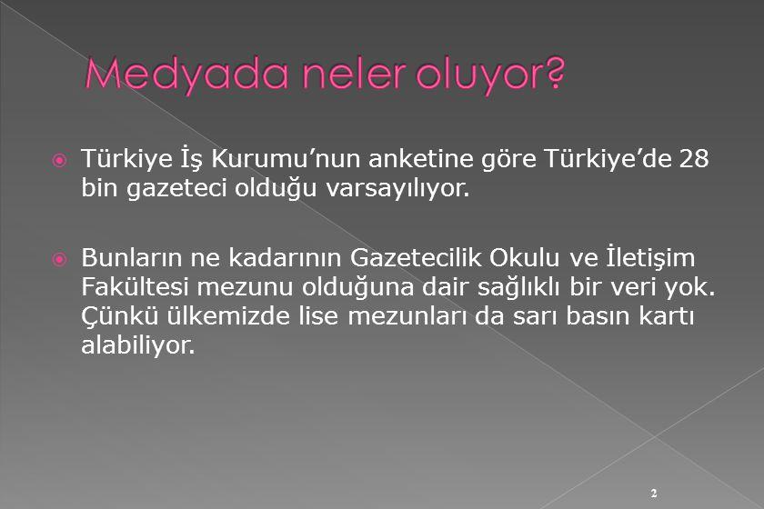  Türkiye İş Kurumu'nun anketine göre Türkiye'de 28 bin gazeteci olduğu varsayılıyor.  Bunların ne kadarının Gazetecilik Okulu ve İletişim Fakültesi