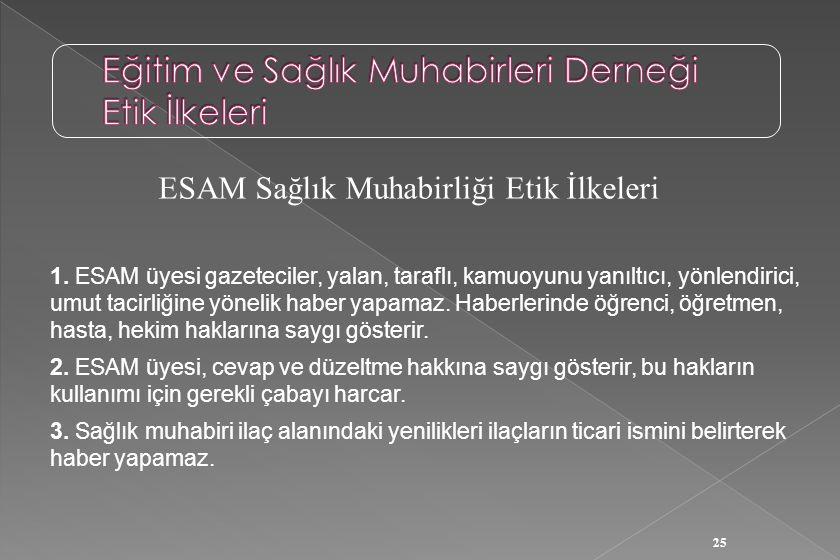 25 ESAM Sağlık Muhabirliği Etik İlkeleri 1. ESAM üyesi gazeteciler, yalan, taraflı, kamuoyunu yanıltıcı, yönlendirici, umut tacirliğine yönelik haber