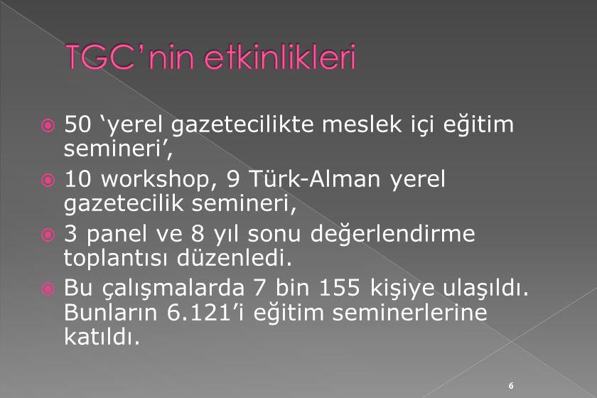  50 'yerel gazetecilikte meslek içi eğitim semineri',  10 workshop, 9 Türk-Alman yerel gazetecilik semineri,  3 panel ve 8 yıl sonu değerlendirme toplantısı düzenledi.
