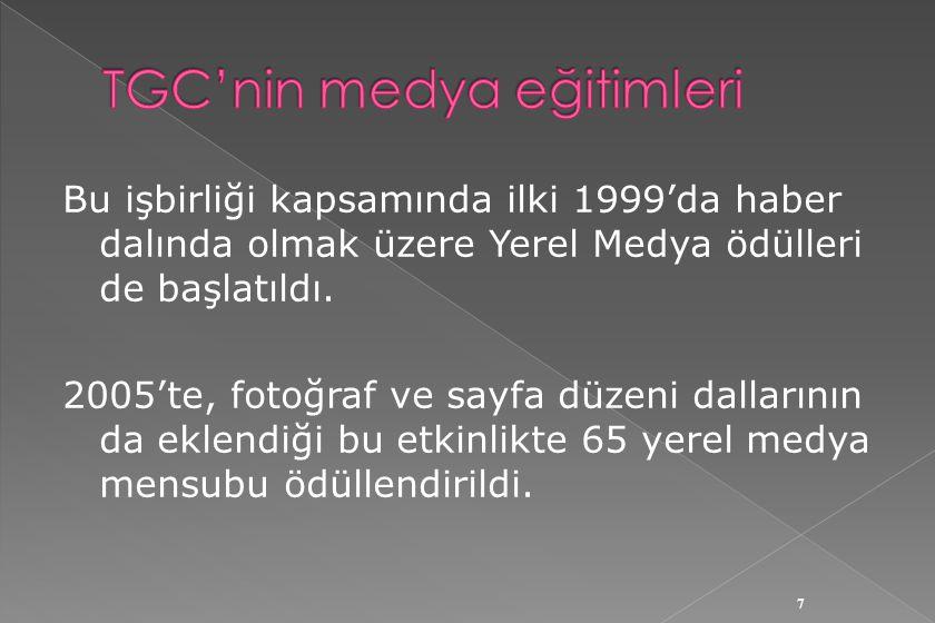 Bu işbirliği kapsamında ilki 1999'da haber dalında olmak üzere Yerel Medya ödülleri de başlatıldı.