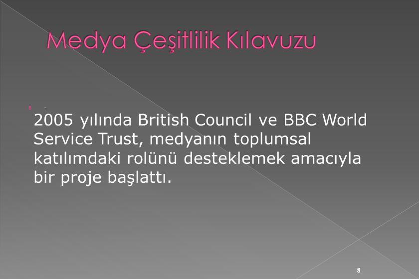  Gazeteciler, televizyoncular, STK temsilcileri, ombudsmanlar, akademisyenler ve BBC'den uzmanların katıldığı bir dizi toplantı sonucunda  Çocuk , Kadın ve Cinsel Yönelim , Kültürel Çeşitlilik konularında Medya ve Çeşitlilik Kılavuzu hazırlandı.