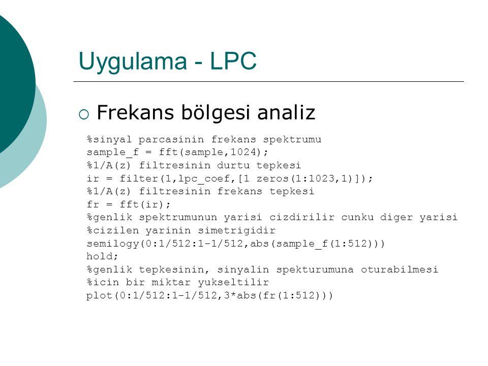 Uygulama - LPC  Zaman bölgesi sinyallere bakarak  İletilmesi gereken veri miktarı ciddi miktarda azalmıştır  LPC Analiz işlemi aynı zamanda bir sıkıştırma işlemidir denebilir