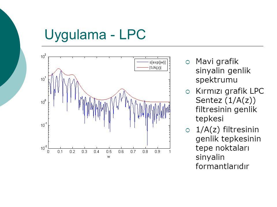 Uygulama - LPC  Frekans bölgesi analiz %sinyal parcasinin frekans spektrumu sample_f = fft(sample,1024); %1/A(z) filtresinin durtu tepkesi ir = filter(1,lpc_coef,[1 zeros(1:1023,1)]); %1/A(z) filtresinin frekans tepkesi fr = fft(ir); %genlik spektrumunun yarisi cizdirilir cunku diger yarisi %cizilen yarinin simetrigidir semilogy(0:1/512:1-1/512,abs(sample_f(1:512))) hold; %genlik tepkesinin, sinyalin spekturumuna oturabilmesi %icin bir miktar yukseltilir plot(0:1/512:1-1/512,3*abs(fr(1:512)))