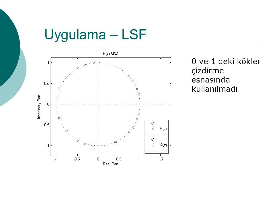 Uygulama – LSF  0 ve 1 de işe yaramayan birer kök var  Bunlardan kurtulmak için P(z) ve Q(z) polinomlarını modifiye etmek gerekir