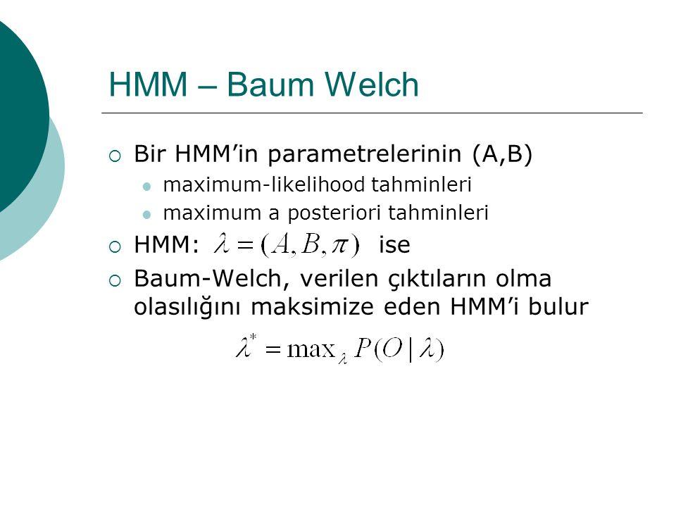 HMM  Çıktılara bakarak topların hangi kutulardan çekildiğinin bulunması  Her bir çıktı için olasılıkların hesaplanması  Baum-Welch gibi bir beklenti artırma (expectation maximization) algoritması kullanımı