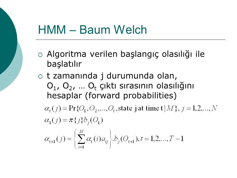 HMM – Baum Welch  Bir HMM'in parametrelerinin (A,B)  maximum-likelihood tahminleri  maximum a posteriori tahminleri  HMM:ise  Baum-Welch, verilen çıktıların olma olasılığını maksimize eden HMM'i bulur