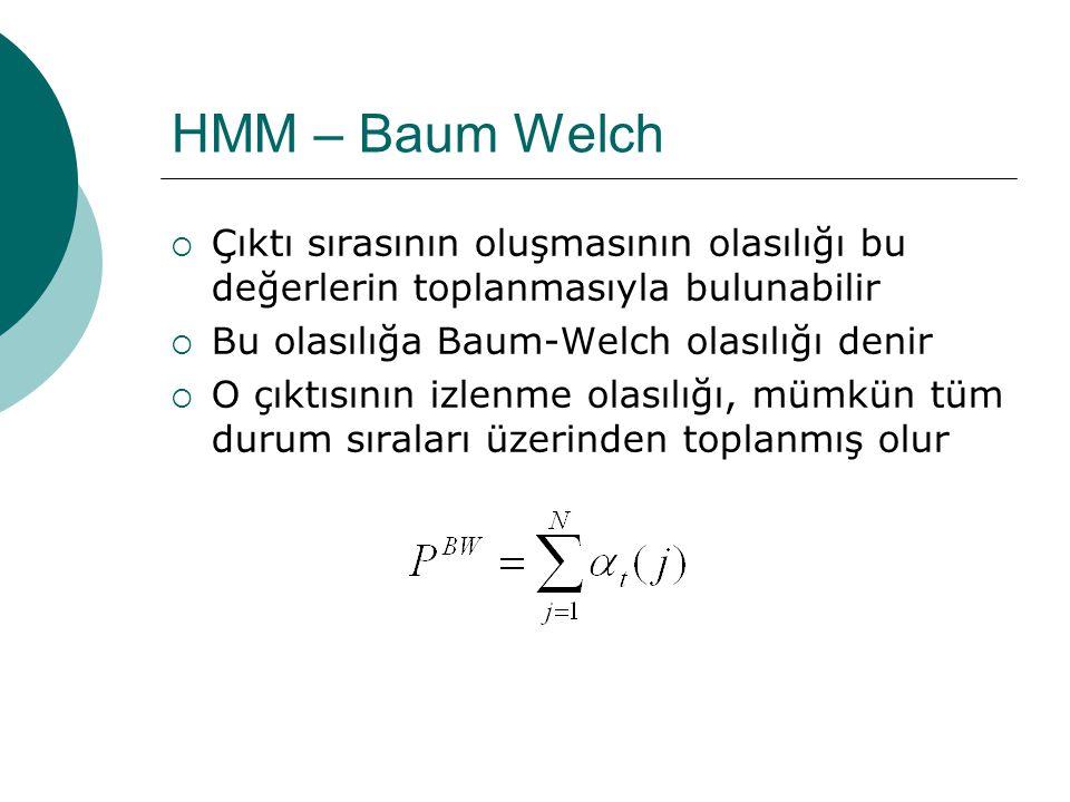 HMM – Baum Welch  Algoritma verilen başlangıç olasılığı ile başlatılır  t zamanında j durumunda olan, O 1, O 2, … O t çıktı sırasının olasılığını hesaplar (forward probabilities)