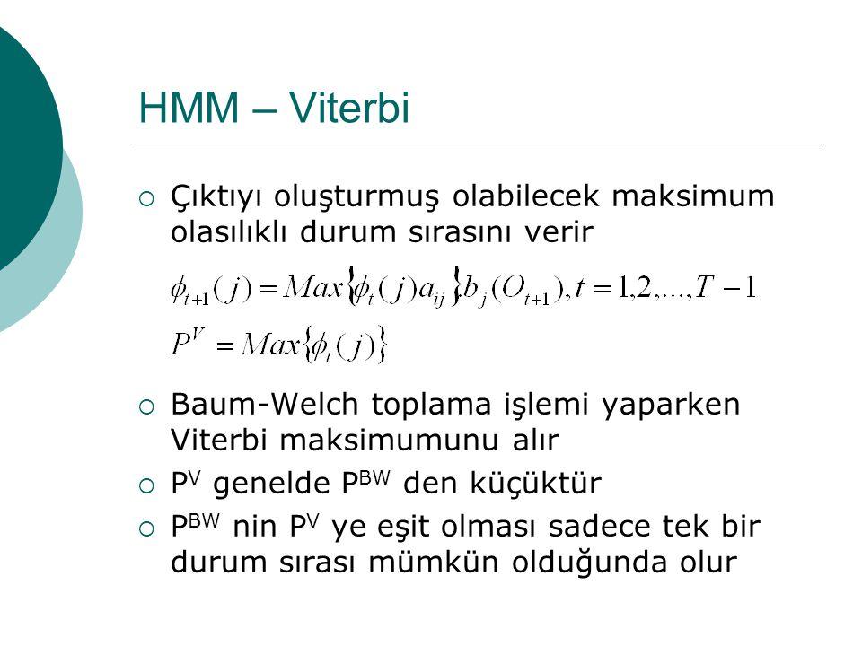 HMM – Baum Welch  Çıktı sırasının oluşmasının olasılığı bu değerlerin toplanmasıyla bulunabilir  Bu olasılığa Baum-Welch olasılığı denir  O çıktısının izlenme olasılığı, mümkün tüm durum sıraları üzerinden toplanmış olur