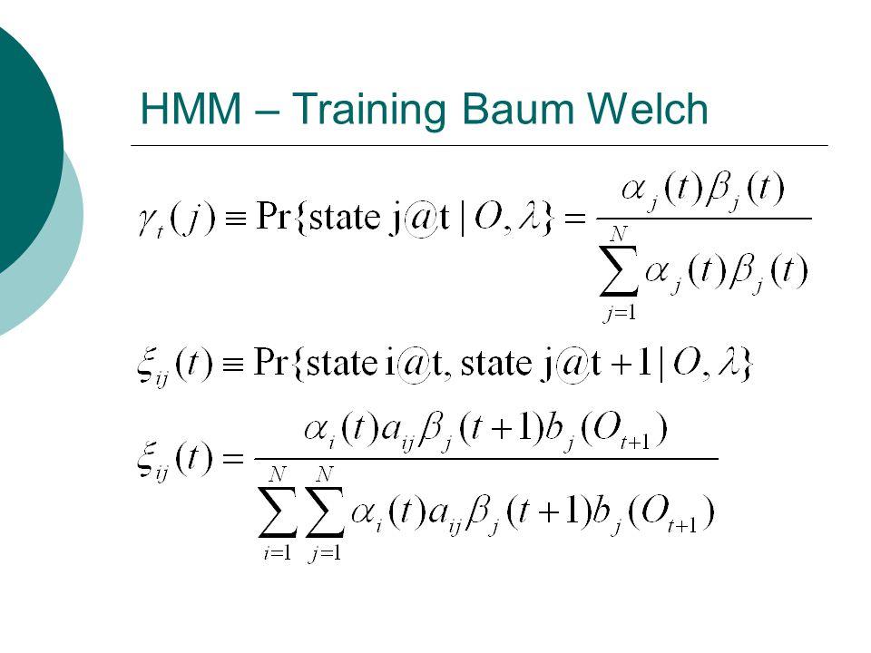 HMM – Training Baum Welch  t zamanında j durumunda olan modelin, O t+1, … O T çıktı sırasıyla bitme olasılığını hesaplar (backward probabilities)