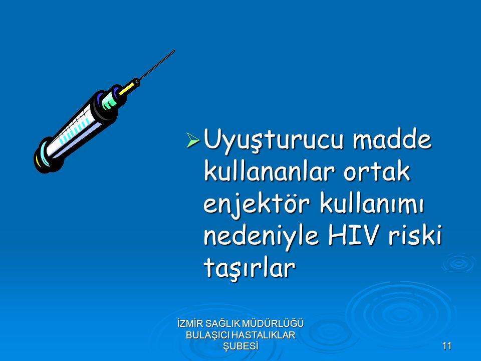 İZMİR SAĞLIK MÜDÜRLÜĞÜ BULAŞICI HASTALIKLAR ŞUBESİ11  Uyuşturucu madde kullananlar ortak enjektör kullanımı nedeniyle HIV riski taşırlar