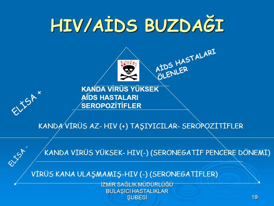 İZMİR SAĞLIK MÜDÜRLÜĞÜ BULAŞICI HASTALIKLAR ŞUBESİ19 HIV/AİDS BUZDAĞI VİRÜS KANA ULAŞMAMIŞ-HIV (-) (SERONEGATİFLER) KANDA VİRÜS YÜKSEK- HIV(-) (SERONE