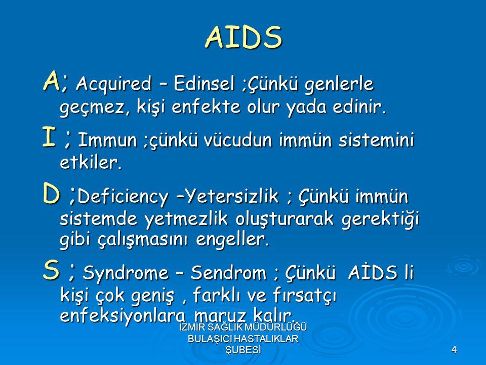 İZMİR SAĞLIK MÜDÜRLÜĞÜ BULAŞICI HASTALIKLAR ŞUBESİ4 AIDS A; Acquired – Edinsel ;Çünkü genlerle geçmez, kişi enfekte olur yada edinir. I ; Immun ;çünkü