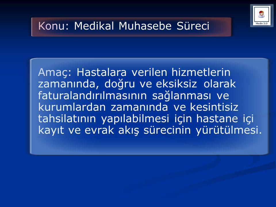 Konu: Medikal Muhasebe Süreci Amaç: Hastalara verilen hizmetlerin zamanında, doğru ve eksiksizolarak faturalandırılmasının sağlanması ve kurumlardan z