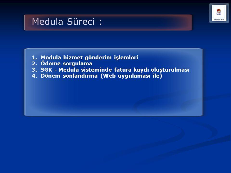 Medula Süreci : 1. Medula hizmet gönderim işlemleri 2. Ödeme sorgulama 3. SGK - Medula sisteminde fatura kaydı oluşturulması 4. Dönem sonlandırma (Web