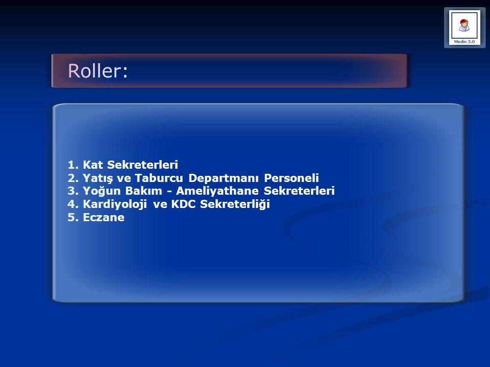 Roller: 1. Kat Sekreterleri 2. Yatış ve Taburcu Departmanı Personeli 3. Yoğun Bakım - Ameliyathane Sekreterleri 4. Kardiyoloji ve KDC Sekreterliği 5.