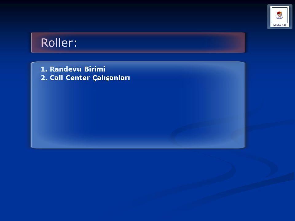 Roller: 1. Randevu Birimi 2. Call Center Çalışanları