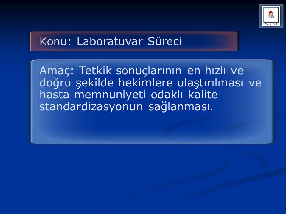 Konu: Laboratuvar Süreci Amaç: Tetkik sonuçlarının en hızlı ve doğru şekilde hekimlere ulaştırılması ve hasta memnuniyeti odaklı kalite standardizasyo
