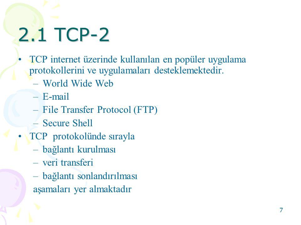 8 2.1 TCP-3 •TCP protokolü kullanımının uygun olmadığı birçok uygulama mevcuttur.