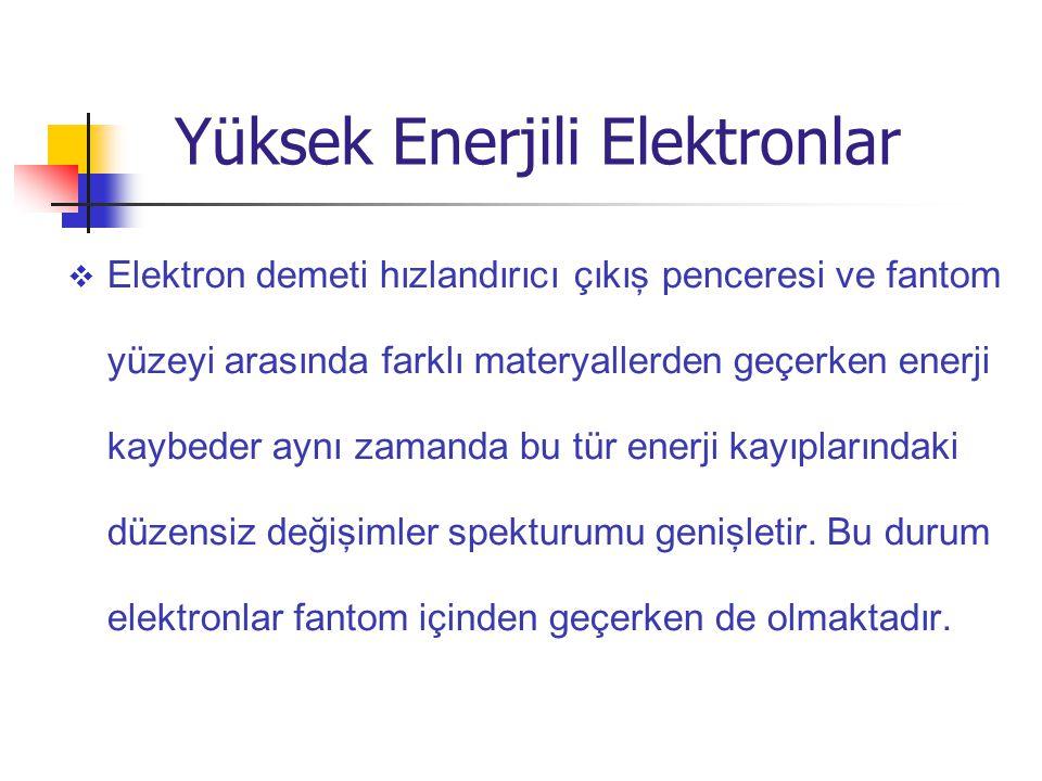  Elektron demeti hızlandırıcı çıkış penceresi ve fantom yüzeyi arasında farklı materyaller den geçer ken enerji kaybeder aynı zamanda bu tür enerji k