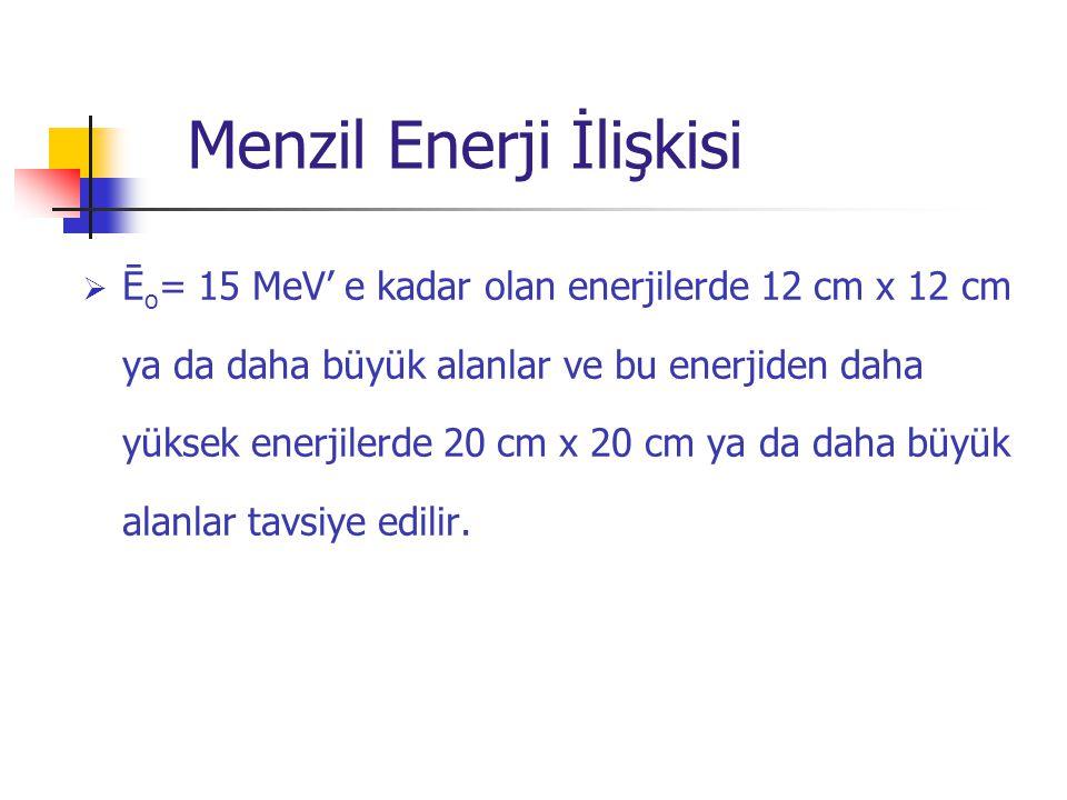  Ē o = 15 MeV' e kadar olan enerjilerde 12 cm x 12 cm ya da daha büyük alanlar ve bu enerjiden daha yüksek enerjilerde 20 cm x 20 cm ya da daha büyük