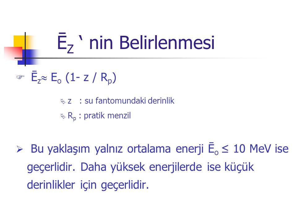 Ē Z ' nin Belirlenmesi  Ē z  E o (1- z / R p )  z : su fantomundaki derinlik  R p : pratik menzil  Bu yaklaşım yalnız ortalama enerji Ē o ≤ 10 Me