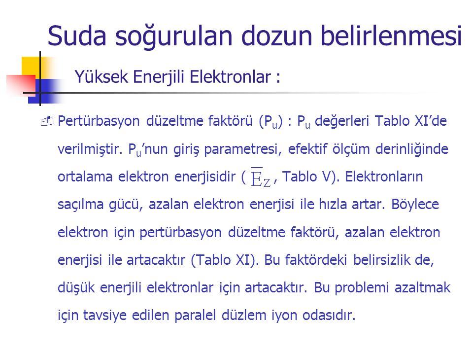  Pertürbasyon düzeltme faktörü (P u ) : P u değerleri Tablo XI'de verilmiştir. P u 'nun giriş parametresi, efektif ölçüm derinliğinde ortalama elektr