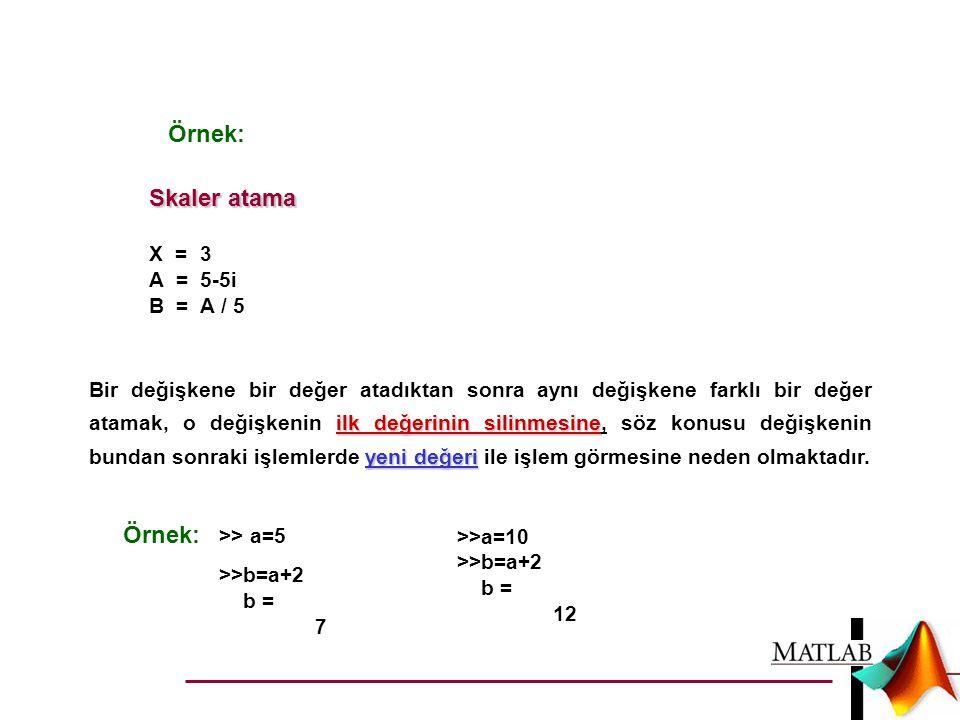 Skaler atama X = 3 A = 5-5i B = A / 5 ilk değerinin silinmesine yeni değeri Bir değişkene bir değer atadıktan sonra aynı değişkene farklı bir değer at