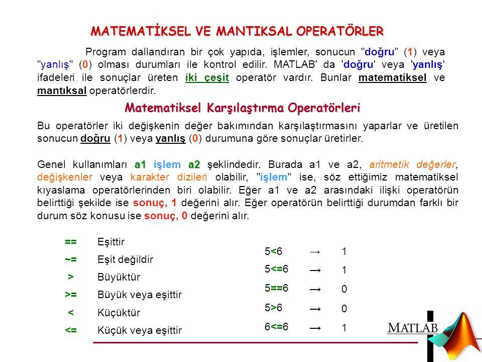 MATEMATİKSEL VE MANTIKSAL OPERATÖRLER Program dallandıran bir çok yapıda, işlemler, sonucun