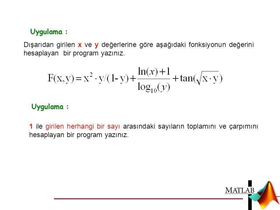 Uygulama : Dışarıdan girilen x ve y değerlerine göre aşağıdaki fonksiyonun değerini hesaplayan bir program yazınız. 1 ile girilen herhangi bir sayı ar