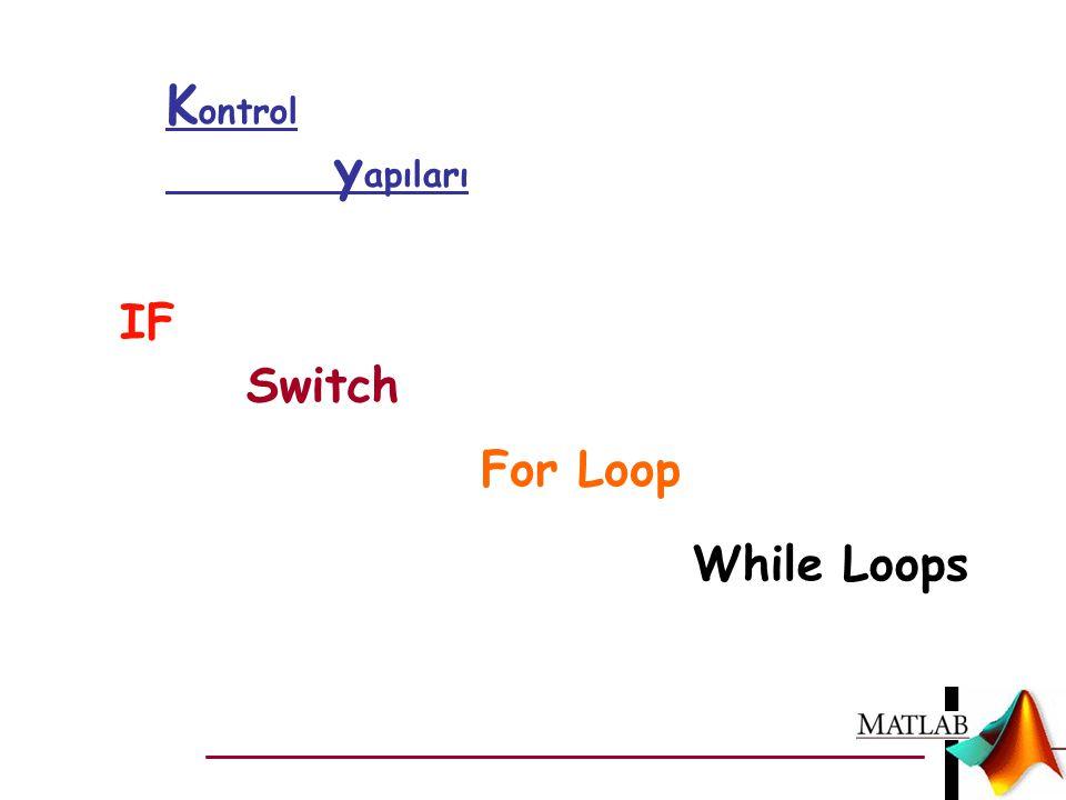 While Loops K ontrol y apıları IF Switch For Loop