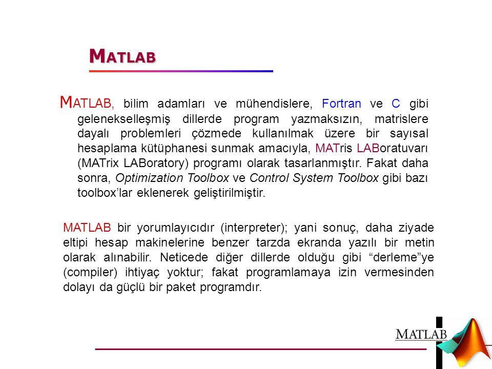 M ATLAB, bilim adamları ve mühendislere, Fortran ve C gibi gelenekselleşmiş dillerde program yazmaksızın, matrislere dayalı problemleri çözmede kullan