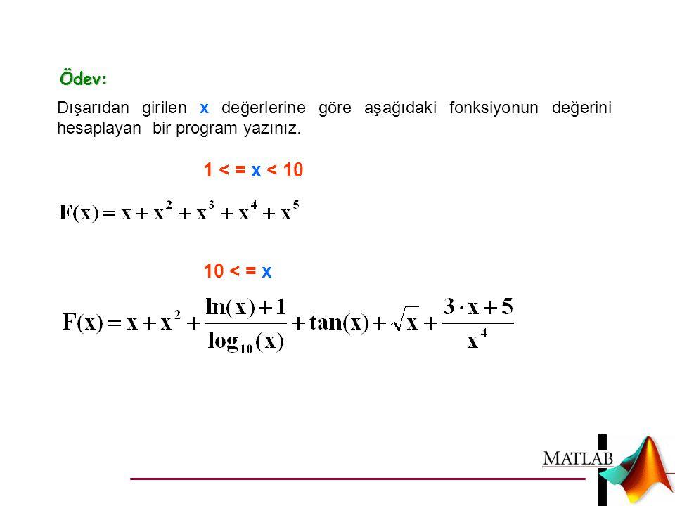 Ödev: Dışarıdan girilen x değerlerine göre aşağıdaki fonksiyonun değerini hesaplayan bir program yazınız. 1 < = x < 10 10 < = x