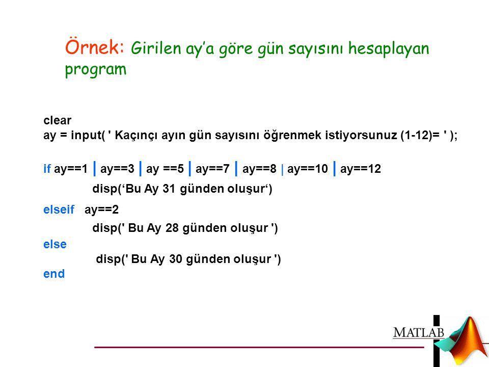 Örnek: Girilen ay'a göre gün sayısını hesaplayan program clear ay = input( ' Kaçınçı ayın gün sayısını öğrenmek istiyorsunuz (1-12)= ' ); if ay==1   a