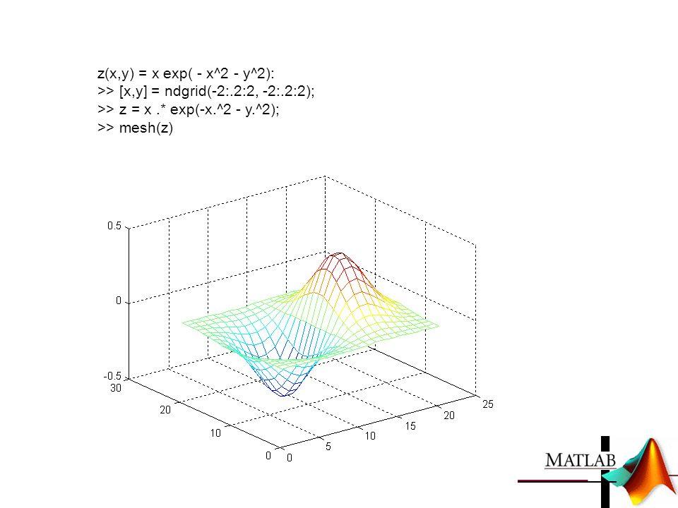 z(x,y) = x exp( - x^2 - y^2): >> [x,y] = ndgrid(-2:.2:2, -2:.2:2); >> z = x.* exp(-x.^2 - y.^2); >> mesh(z)