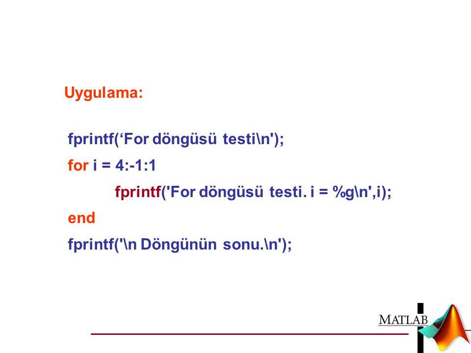 Uygulama: fprintf('For döngüsü testi\n'); for i = 4:-1:1 fprintf('For döngüsü testi. i = %g\n',i); end fprintf('\n Döngünün sonu.\n');