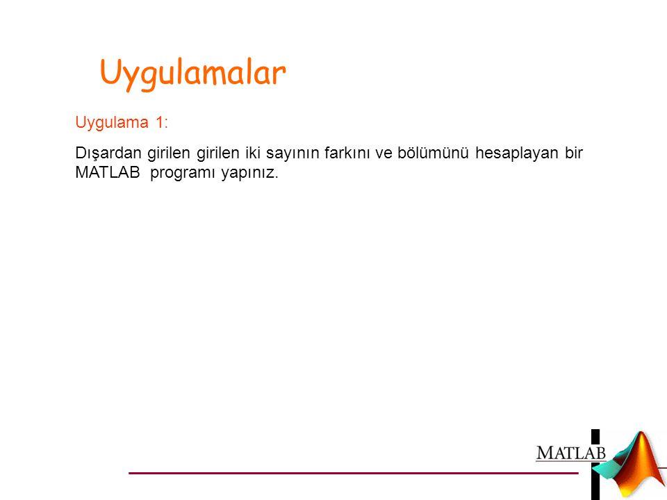 Uygulamalar Uygulama 1: Dışardan girilen girilen iki sayının farkını ve bölümünü hesaplayan bir MATLAB programı yapınız.