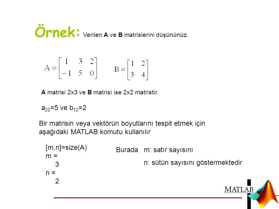 Örnek: Verilen A ve B matrislerini düşününüz. A matrisi 2x3 ve B matrisi ise 2x2 matristir. a 22 =5 ve b 12 =2 Bir matrisin veya vektörün boyutlarını