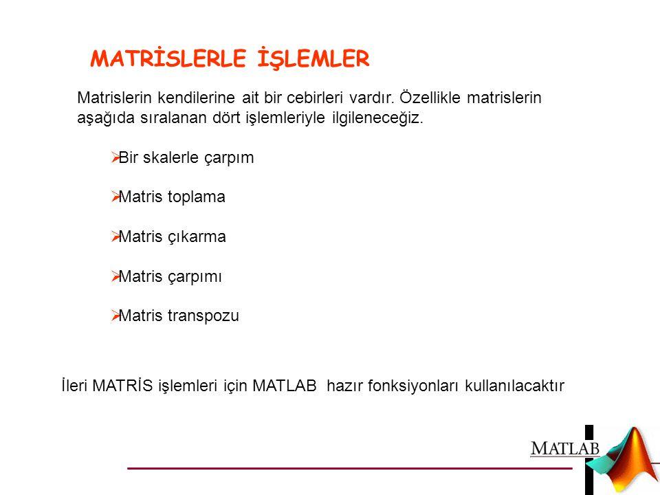 MATRİSLERLE İŞLEMLER İleri MATRİS işlemleri için MATLAB hazır fonksiyonları kullanılacaktır Matrislerin kendilerine ait bir cebirleri vardır. Özellikl