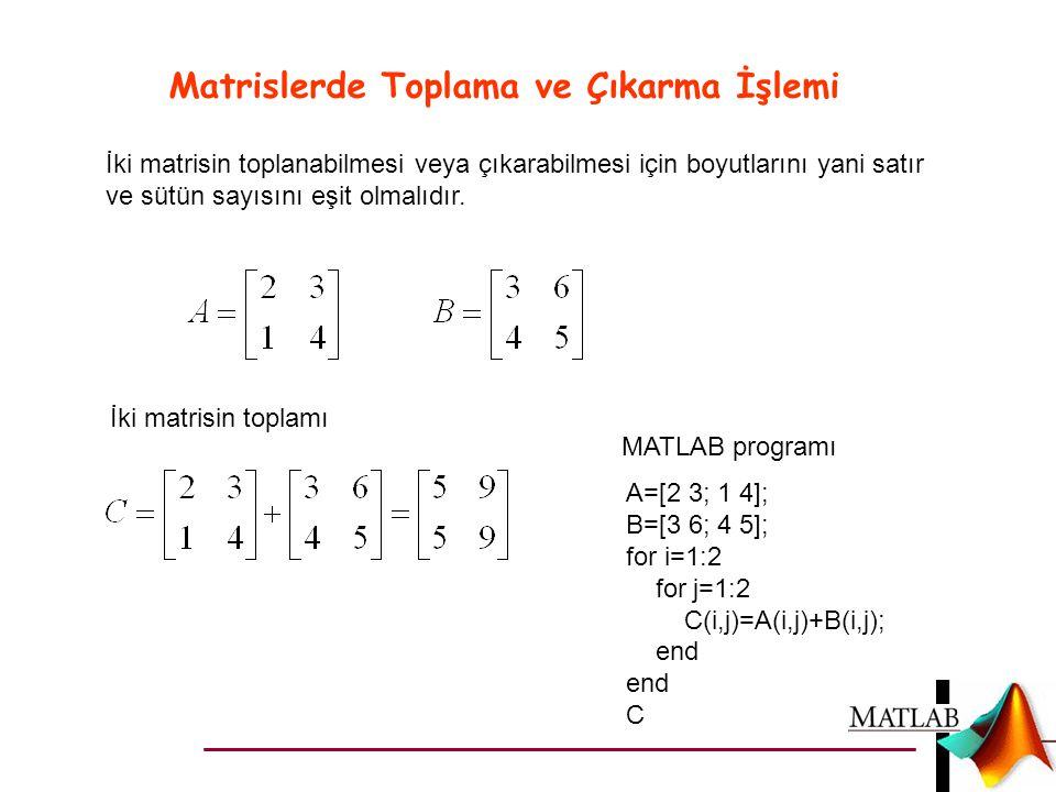 Matrislerde Toplama ve Çıkarma İşlemi İki matrisin toplanabilmesi veya çıkarabilmesi için boyutlarını yani satır ve sütün sayısını eşit olmalıdır. İki