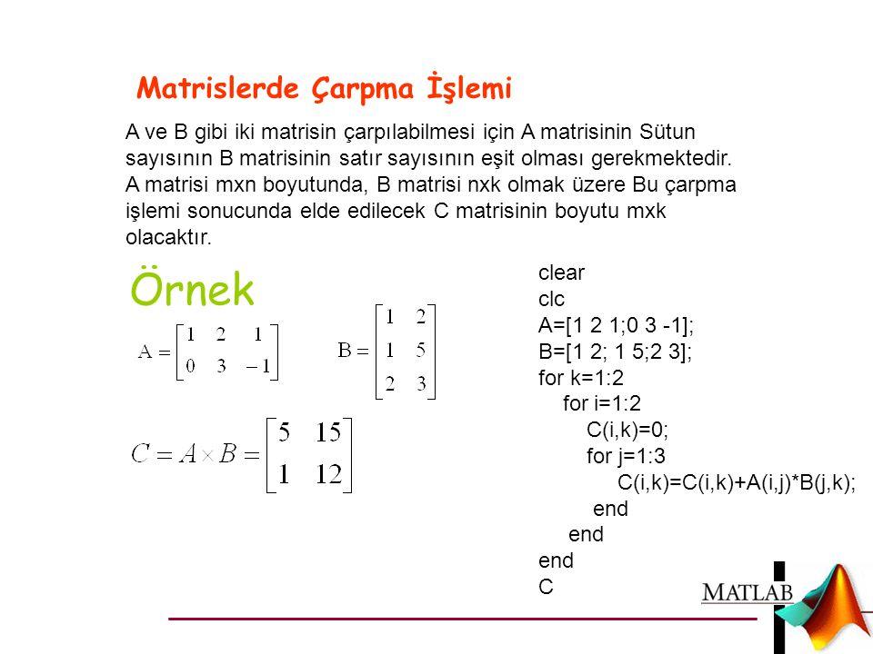 Matrislerde Çarpma İşlemi A ve B gibi iki matrisin çarpılabilmesi için A matrisinin Sütun sayısının B matrisinin satır sayısının eşit olması gerekmekt